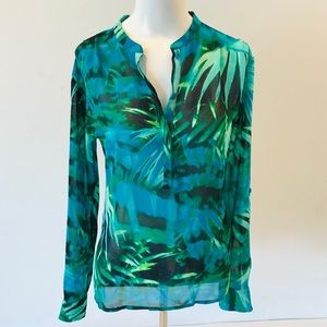 a.n.a. Sheer Top Blouse Green Forest Long Sleeves